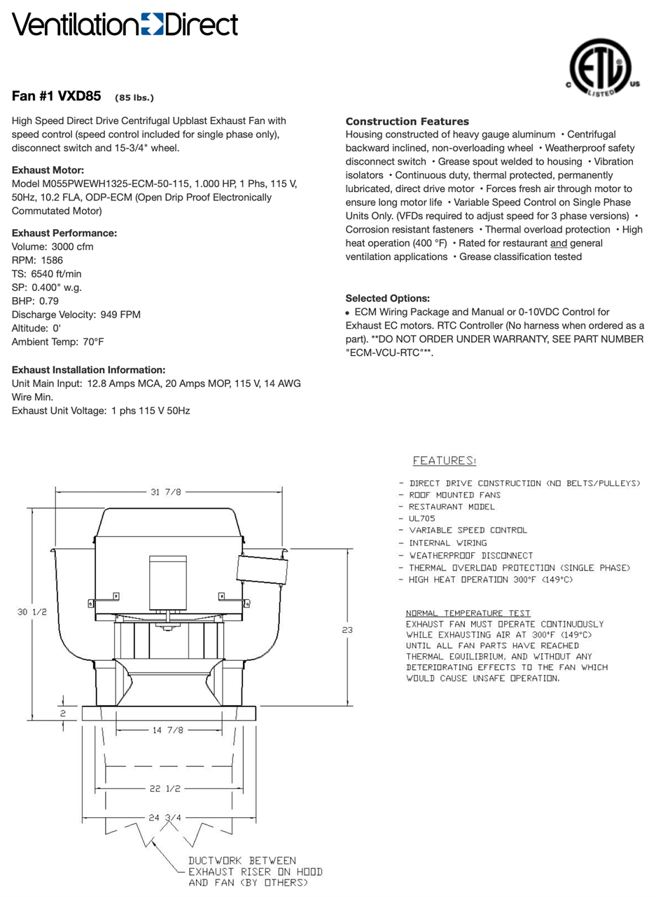 Picture of Centrifugal Upblast Exhaust Fan - 3000 CFM