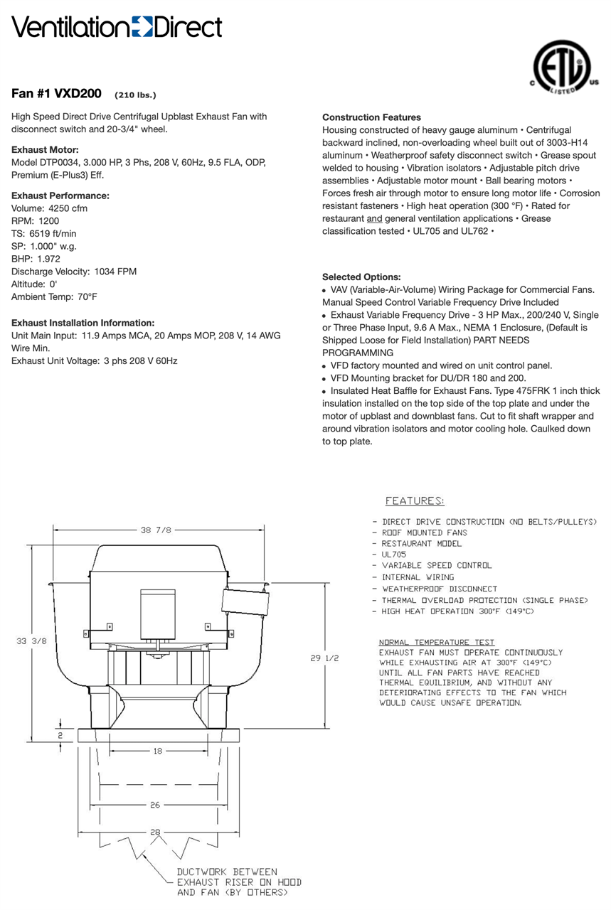 Picture of Centrifugal Upblast Exhaust Fan - 4000 CFM