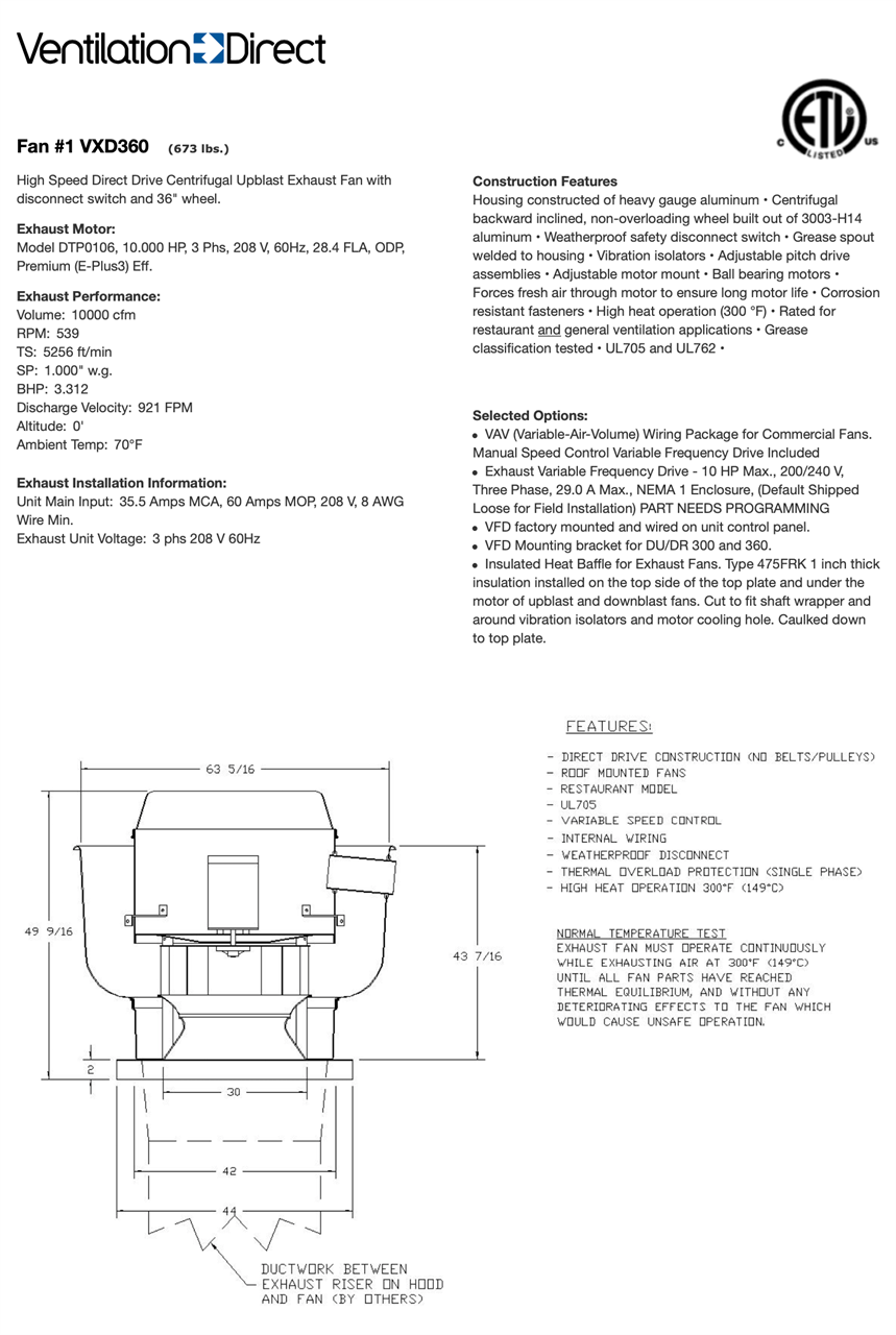 Picture of Centrifugal Upblast Exhaust Fan - 10,000 CFM